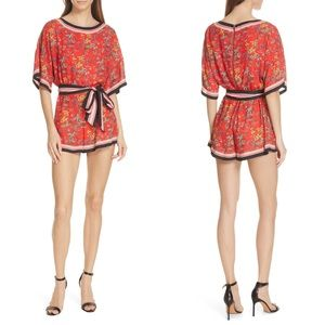 ALICE + OLIVIA Bowie Red Floral Romper